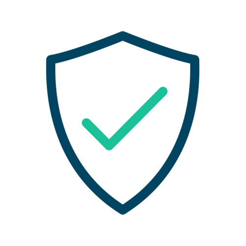 Icon with shield and checkmark