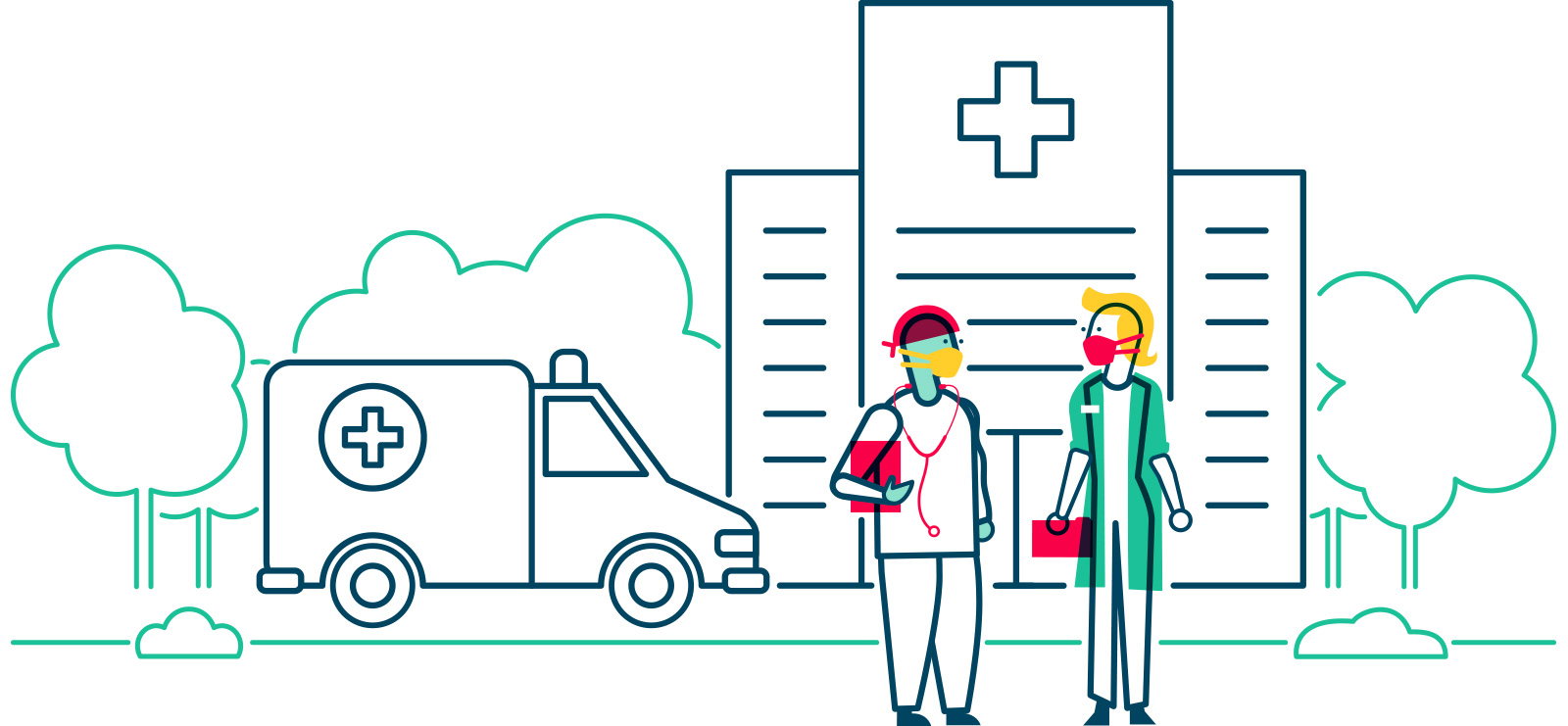 An illustration of two doctors in front of an ambulance and hospital